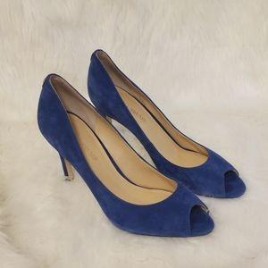 Ivanka Trump open toe blue suede heels